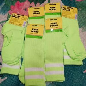 6 pairs on knee high socks 14+ neon green